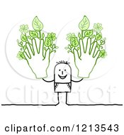 Stick People Man Holding Up Two Hands With Leafy Fingers by NL shop