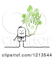 Clipart Of A Stick People Business Man Holding Up A Recycle Hand With Leaves Royalty Free Vector Illustration by NL shop