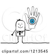 Clipart Of A Stick People Business Man Holding Up A Hand With A Blue Eye Royalty Free Vector Illustration
