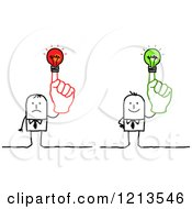 Clipart Of Stick People Business Men Holding Up Red And Green Lightbulb Fingers Royalty Free Vector Illustration by NL shop