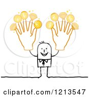 Stick People Business Man Holding Up Rich Fingers With Gold Coins And Diamonds