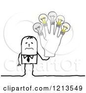 Clipart Of A Stick People Business Man Trembling And Holding Burning Out Lightbulb Fingers Royalty Free Vector Illustration