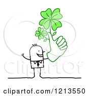 Clipart Of A Stick People Business Man Holding A Thumb Up With Lucky Shamrocks Royalty Free Vector Illustration