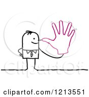 Clipart Of A Stick People Business Man Holding A Hand To His Nose Royalty Free Vector Illustration