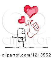 Stick People Business Man Holding A Thumb Up With Hearts