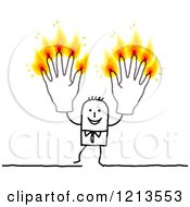 Clipart Of A Stick People Business Man Holding Up Burning Finger Candle Hands Royalty Free Vector Illustration