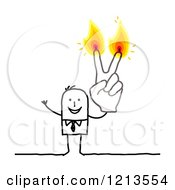 Clipart Of A Stick People Business Man Holding Up Two Burning Finger Candles Royalty Free Vector Illustration