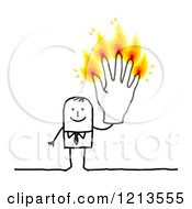 Stick People Business Man Holding Up Five Burning Finger Candles by NL shop