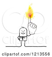 Stick People Business Man Holding Up A Flaming Finger by NL shop
