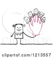 Clipart Of A Stick People Woman Holding Up A Hand With Family Finger Puppets Royalty Free Vector Illustration