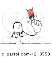 Clipart Of A Stick People Business Man With A Devil Puppet On His Finger Royalty Free Vector Illustration