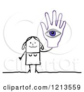 Clipart Of A Stick People Woman Holding Up A Hand With An Eye Royalty Free Vector Illustration