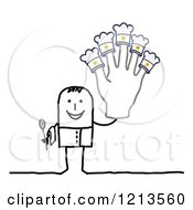 Stick People Man Chef Holding Up A Five Star Hat Hand
