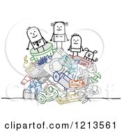 Clipart Of A Stick People Family On A Pile Of Garbage Royalty Free Vector Illustration