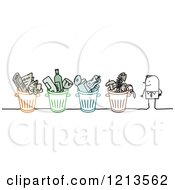 Clipart Of A Stick People Man With Recycle Bins Royalty Free Vector Illustration by NL shop