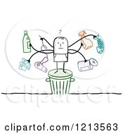 Clipart Of A Stick People Man Standing On A Trash Bin With Recyclable Items Royalty Free Vector Illustration