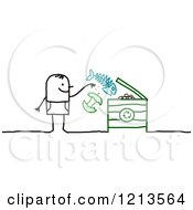 Clipart Of A Stick People Man Tossing Food Into A Compost Bin Royalty Free Vector Illustration