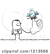Clipart Of A Stick People Business Man With An Angel Puppet On His Finger Royalty Free Vector Illustration by NL shop