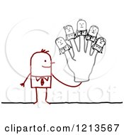 Clipart Of A Stick Business Man Wearing Finger Puppet People On His Hand Royalty Free Vector Illustration