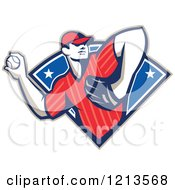 Clipart Of A Retro Baseball Player Pitching Over A Blue Starry Design Royalty Free Vector Illustration