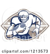 Clipart Of A Retro American Football Player Runningback With A Ball Over A Design Royalty Free Vector Illustration