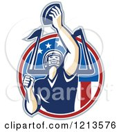 Clipart Of An American Football Player Quarterback Holding Up A Ball Over A Goal Post And American Flag Circle Royalty Free Vector Illustration