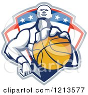 Clipart Of A Retro Basketball Player Holding A Ball Over A Patriotic Shield Royalty Free Vector Illustration