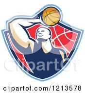 Clipart Of A Retro Basketball Player Holding A Ball Over His Head In A Shield Royalty Free Vector Illustration