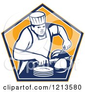 Clipart Of A Retro Chef Slicing A Ham In An Orange Pentagon Royalty Free Vector Illustration