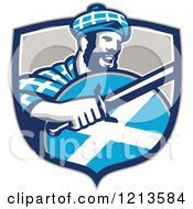 Clipart Of A Scottish Highlander In A Tartan With A Sword And Shield In A Crest Royalty Free Vector Illustration by patrimonio