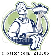 Retro Chef Holding A Pie Over A Rolling Pin In A Green Oval