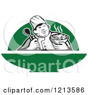 Clipart Of A Retro Chef Holding A Bowl Of Hot Noodle Soup Over Green Royalty Free Vector Illustration