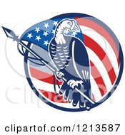 Clipart Of A Retro Turkey Bird On A Pole Over An American Flag Circle Royalty Free Vector Illustration