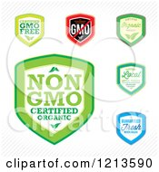 Clipart Of GMO Free Genetically Modified Labels Royalty Free Vector Illustration