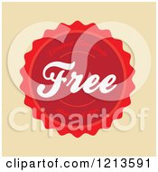Clipart Of A Red Badge With Free Special Offer Limited Time Only Text On Tan Royalty Free Vector Illustration