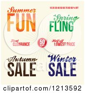 Clipart Of Seasonal Sale Advertisements On Tan Royalty Free Vector Illustration