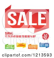 Clipart Of Sale And Clearance Retail Banners On White Royalty Free Vector Illustration