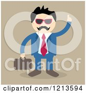 Clipart Of A Businessman Wearing A Blue Suit And Glasses And Pointing Up On Tan Royalty Free Vector Illustration