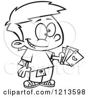 Cartoon Of A Black And White Sneaky Boy Hiding And Holding Aces Royalty Free Vector Clipart