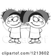 Cartoon Of A Black And White Two Cute Happy Black Girls Standing Together Royalty Free Vector Clipart
