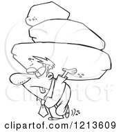 Cartoon Of A Black And White Exhausted Businessman Carrying The Burden Of A Heavy Boulder Load Royalty Free Vector Clipart