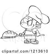 Cartoon Of A Black And White Happy Baker Boy With Fresh Bread Royalty Free Vector Clipart by toonaday