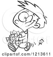 Cartoon Of A Black And White Happy Boy Carrying Autumn Leaves Royalty Free Vector Clipart