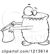 Cartoon Of A Black And White Halloween Monster Trick Or Treating Royalty Free Vector Clipart