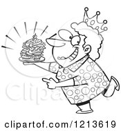 Cartoon Of A Black And White Sandwich Queen Woman Wearing A Crown Royalty Free Vector Clipart by toonaday
