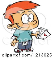 Cartoon Of A Sneaky Caucasian Boy Hiding And Holding Aces Royalty Free Vector Clipart