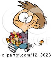Cartoon Of A Happy Caucasian Boy Carrying Autumn Leaves Royalty Free Vector Clipart