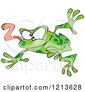 Cartoon Of A Leaping Green Frog With His Tongue Hanging Out Royalty Free Vector Clipart by toonaday