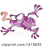 Leaping Purple Frog With His Tongue Hanging Out