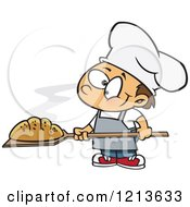 Cartoon Of A Happy Caucasian Baker Boy With Fresh Bread Royalty Free Vector Clipart by toonaday
